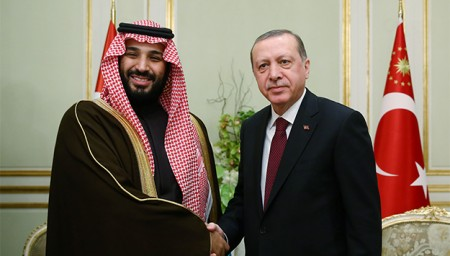 JEDDAH, SAUDI ARABIA - FEBRUARY 14:  Turkish President Recep Tayyip Erdogan (R) shakes hands with Deputy Crown Prince Saudi Arabia, Mohammed bin Salman (L), during their meeting in Jeddah, Saudi Arabia on February 14, 2017. (Photo by Kayhan Ozer/Anadolu Agency/Getty Images)