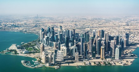 HMEENW Aerial view of Doha, Qatar