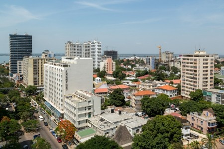 Aerial view the downtown area of Maputo, the capital city of Mozambique
